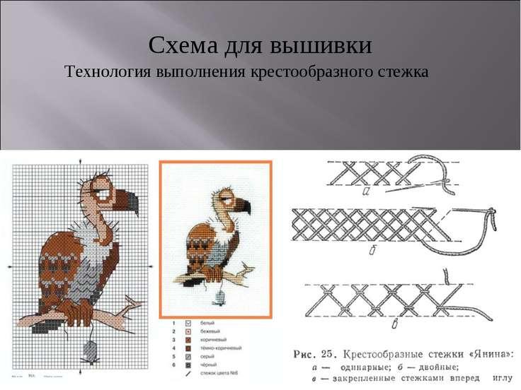 Схема для вышивки Технология выполнения крестообразного стежка