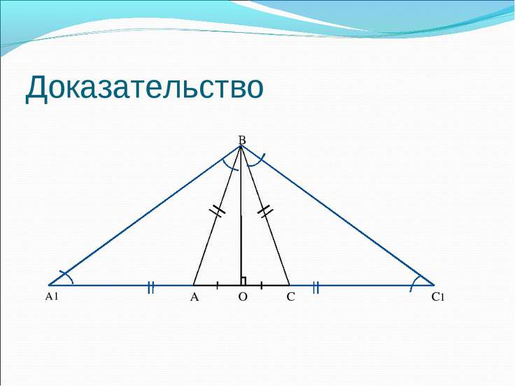 Доказательство B C O A С1 A1 α α