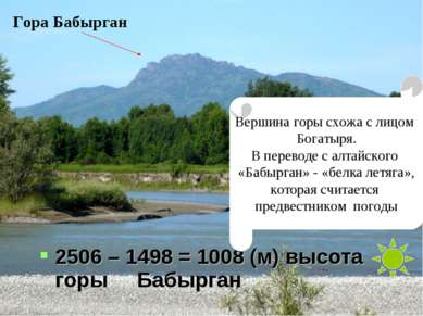 2506 – 1498 = 1008 (м) высота горы Бабырган Гора Бабырган Вершина горы схожа ...