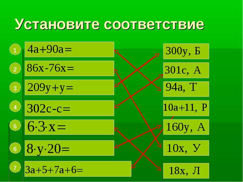 Установите соответствие 7 6 5 4 3 2 1