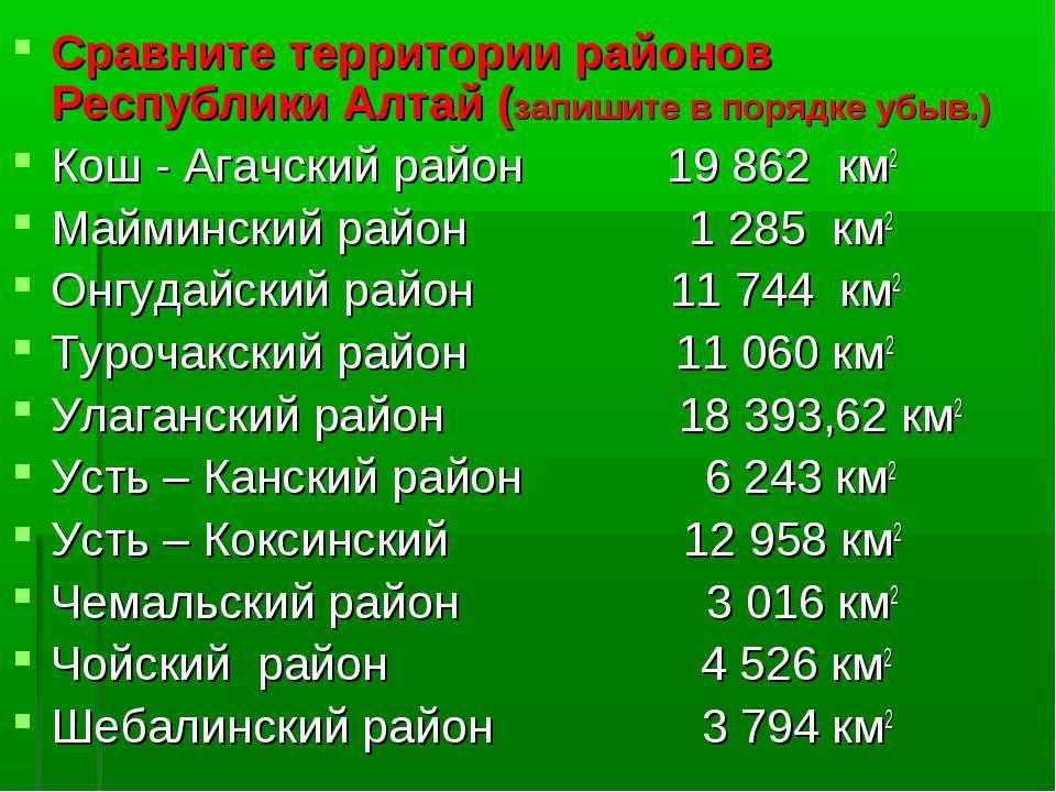 Сравните территории районов Республики Алтай (запишите в порядке убыв.) Кош -...