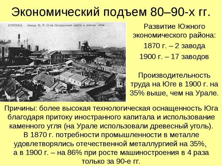 Экономический подъем 80–90-х гг. Развитие Южного экономического района: 1870 ...