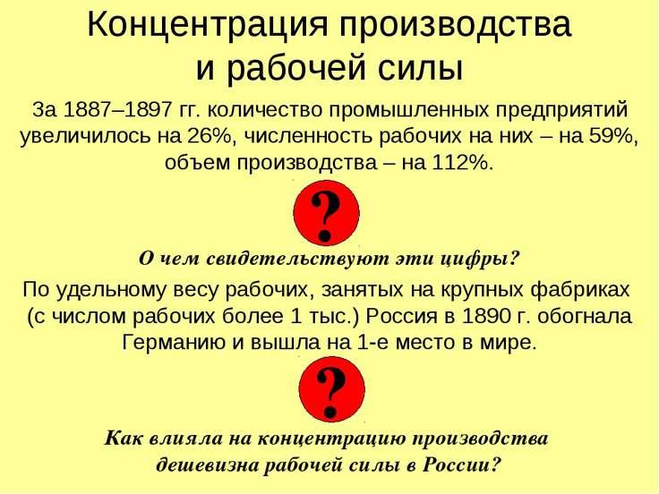 Концентрация производства и рабочей силы За 1887–1897 гг. количество промышле...