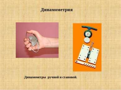 Динамометрия Динамометры ручной и становой.