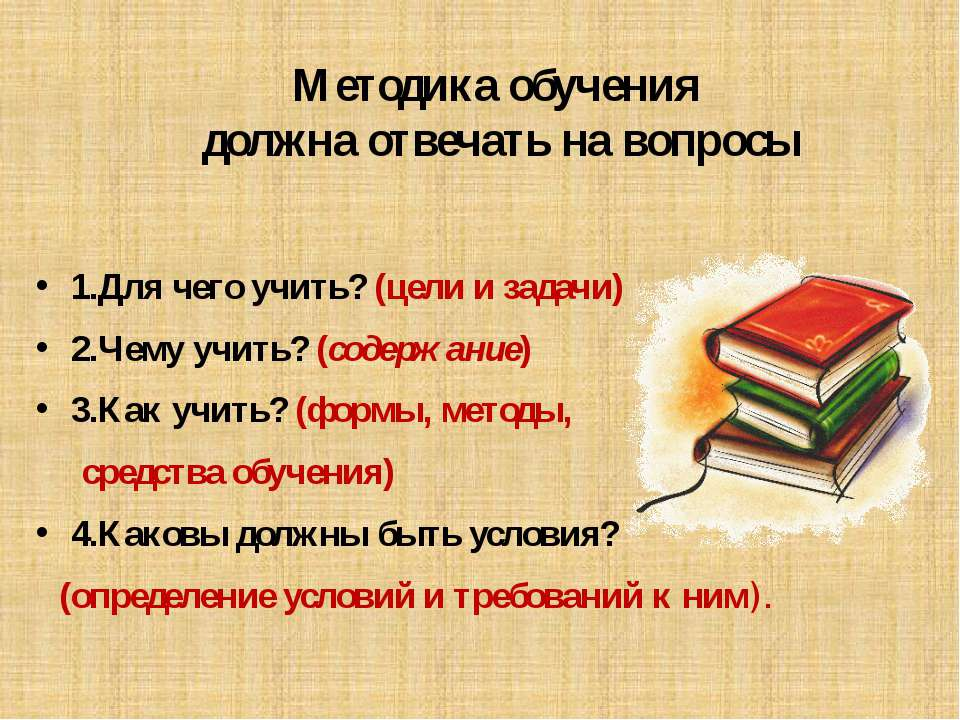 Методика обучения должна отвечать на вопросы 1.Для чего учить? (цели и задачи...