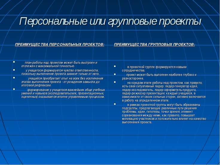 Персональные или групповые проекты ПРЕИМУЩЕСТВА ПЕРСОНАЛЬНЫХ ПРОЕКТОВ:  ...