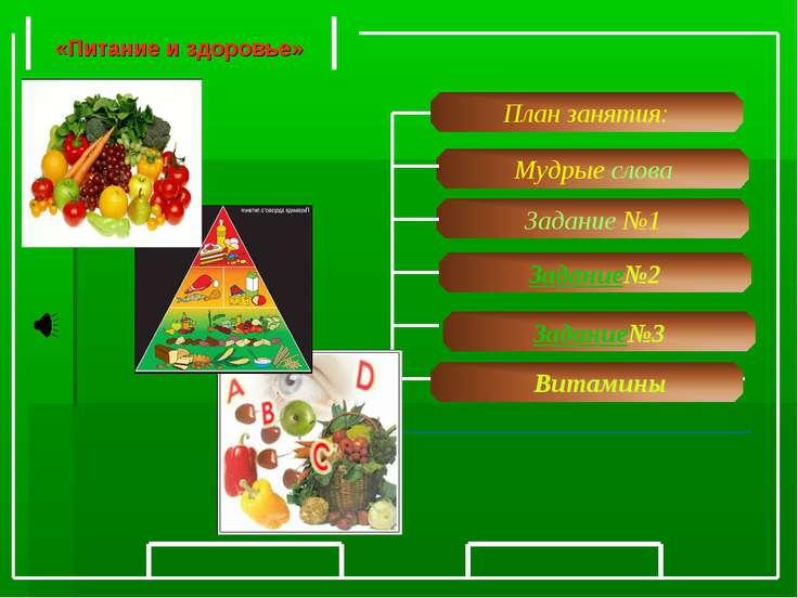 Задание №1 Витамины Мудрые слова Задание№2 «Питание и здоровье» Задание№3 Пла...