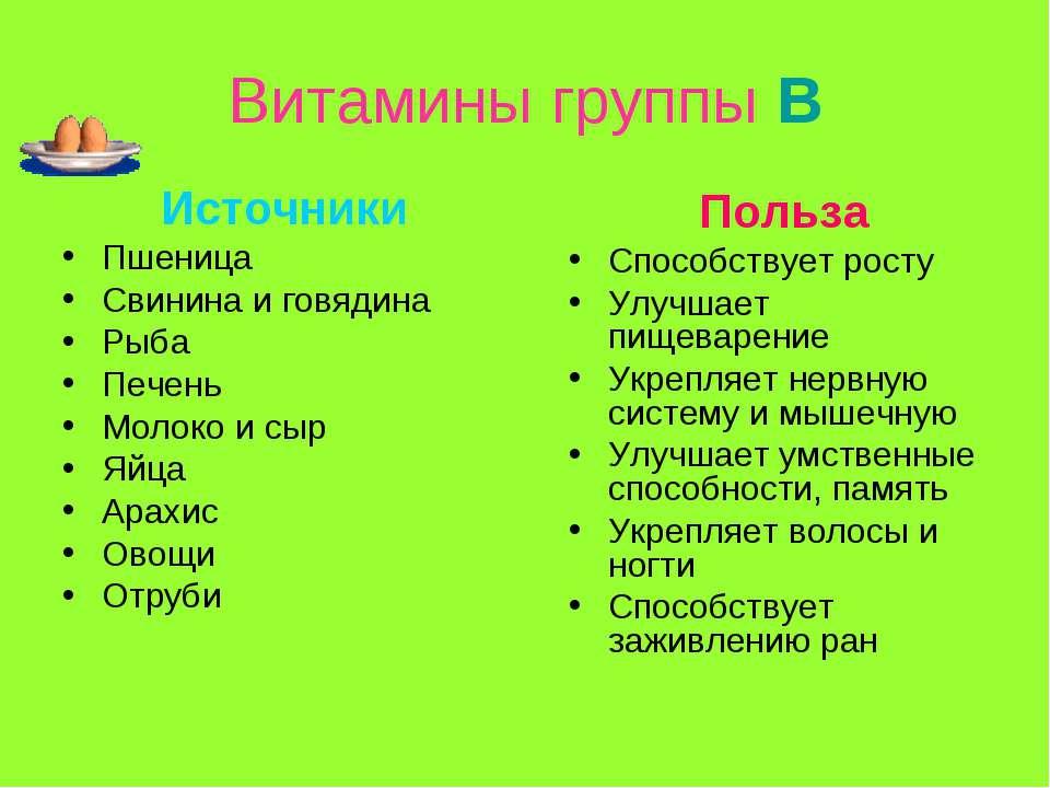 Витамины группы В Источники Пшеница Свинина и говядина Рыба Печень Молоко и с...