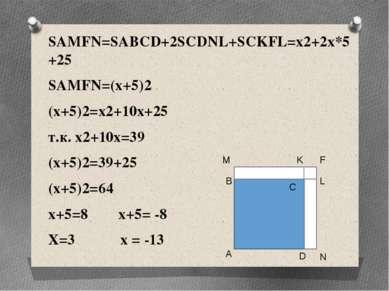 SAMFN=SABCD+2SCDNL+SCKFL=x2+2x*5+25 SAMFN=(x+5)2 (x+5)2=x2+10x+25 т.к. x2+10x...
