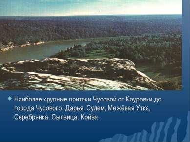 Наиболее крупные притоки Чусовой от Коуровки до города Чусового: Дарья, Сулем...