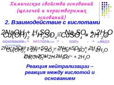 Химические свойства оснований (щелочей и нерастворимых оснований) 2NaOH + H2S...