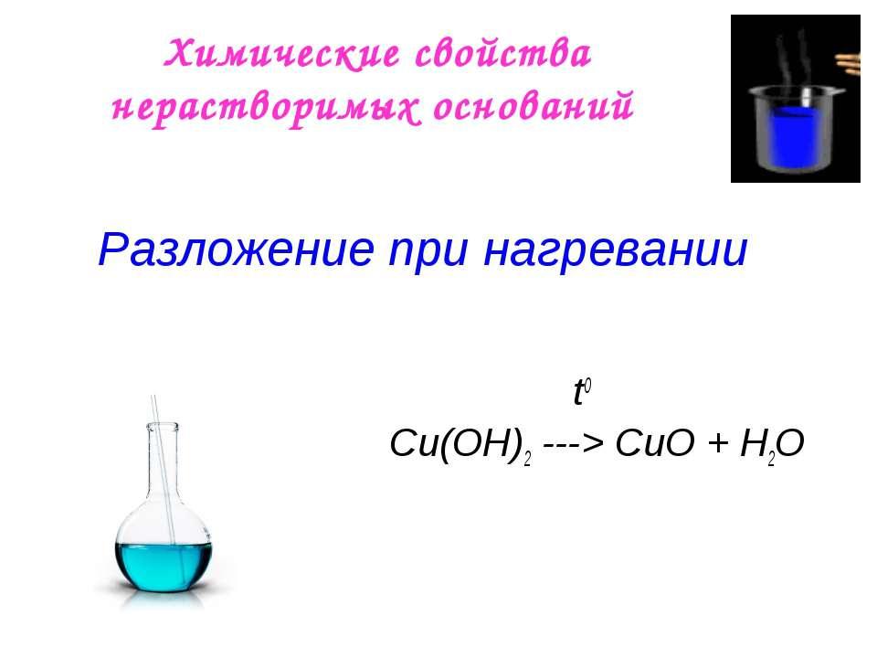 Химические свойства нерастворимых оснований t0 Сu(OН)2 ---> СuO + H2O Разложе...