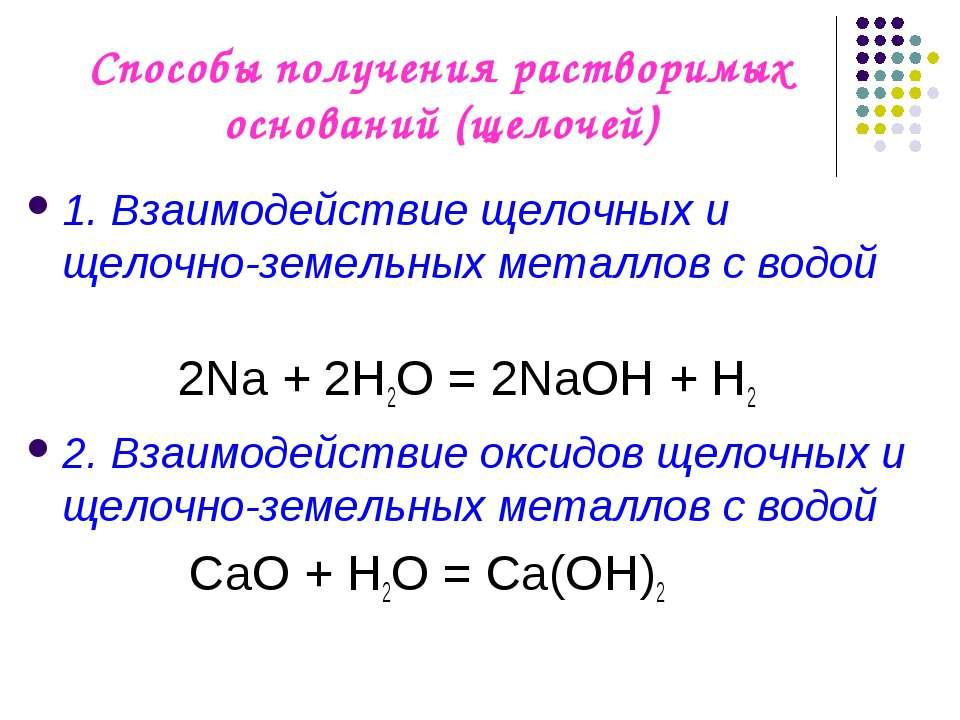 Способы получения растворимых оснований (щелочей) 1. Взаимодействие щелочных ...