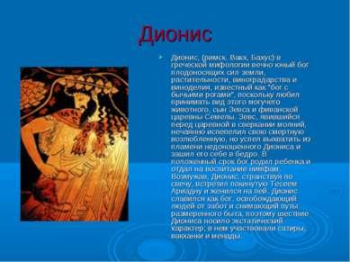 Дионис Дионис, (римск. Вакх, Бахус) в греческой мифологии вечно юный бог плод...