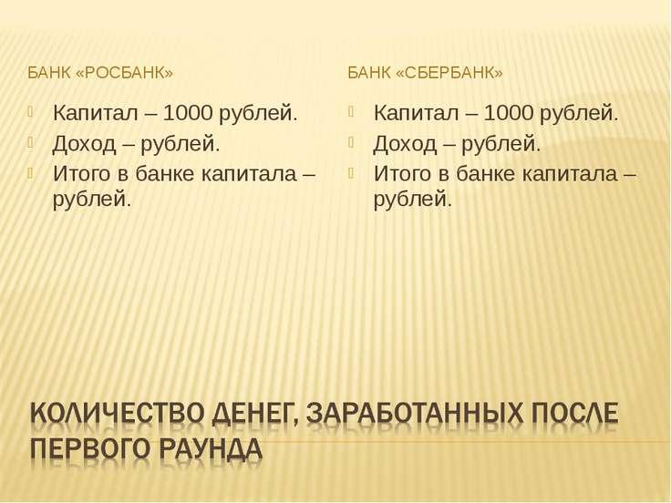 БАНК «РОСБАНК» БАНК «СБЕРБАНК» Капитал – 1000 рублей. Доход – рублей. Итого в...