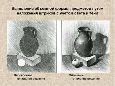 Выявление объемной формы предметов путем наложения штрихов с учетом света и т...