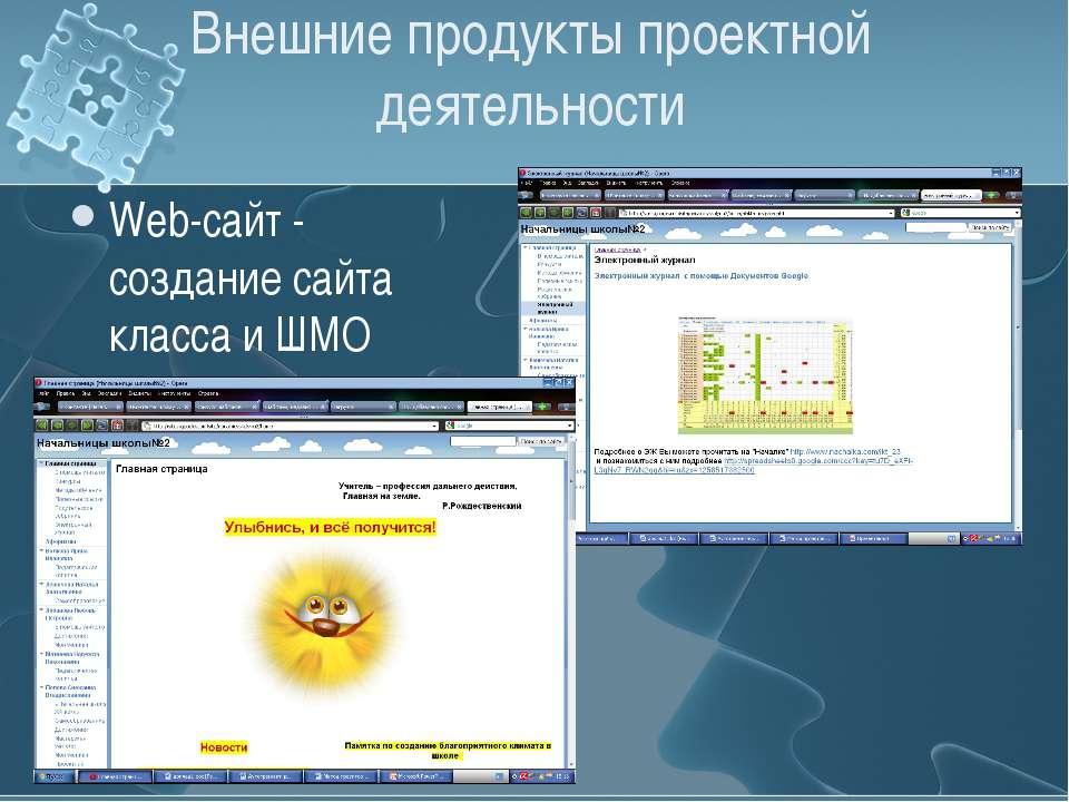 Внешние продукты проектной деятельности Web-сайт - создание сайта класса и ШМО