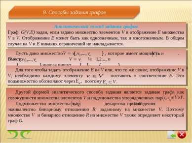 Аналитический способ задания графов Граф G(V,E) задан, если задано множество ...