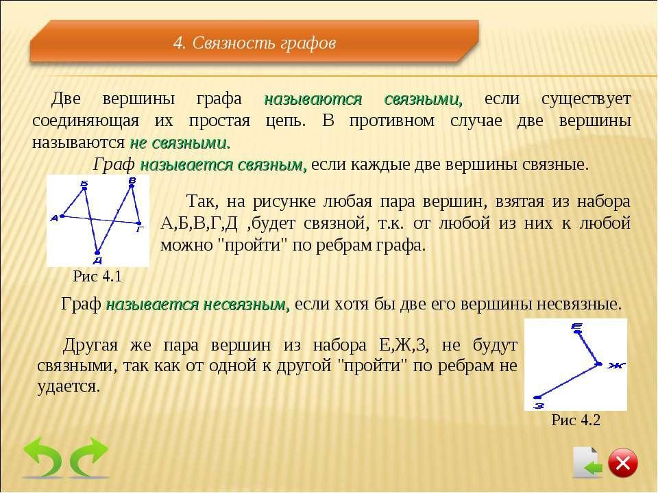 Две вершины графа называются связными, если существует соединяющая их простая...