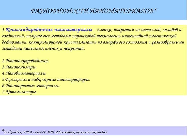 РАЗНОВИДНОСТИ НАНОМАТЕРИАЛОВ* *Андриевский Р.А., Рагуля А.В. «Наноструктурные...