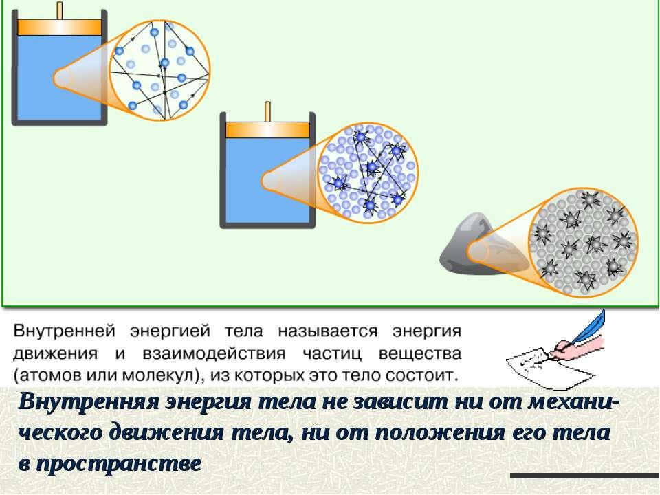 Внутренняя энергия тела не зависит ни от механи- ческого движения тела, ни от...