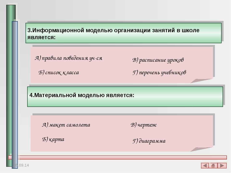 3.Информационной моделью организации занятий в школе является: А) правила пов...