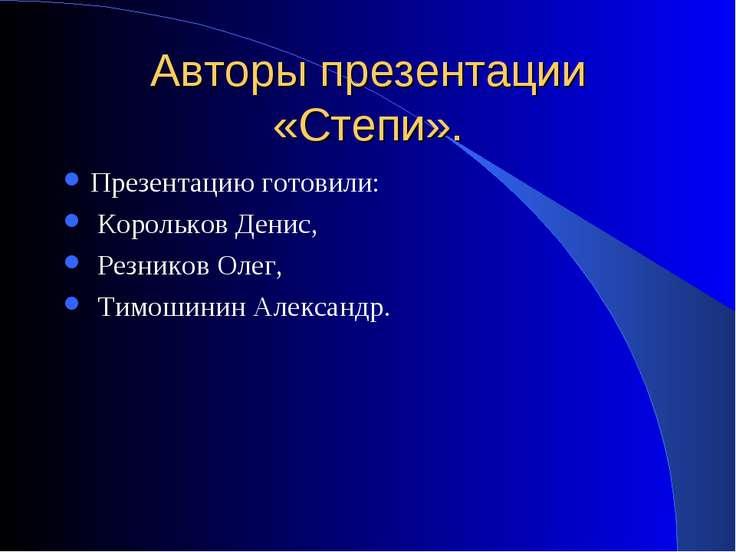 Авторы презентации «Степи». Презентацию готовили: Корольков Денис, Резников О...