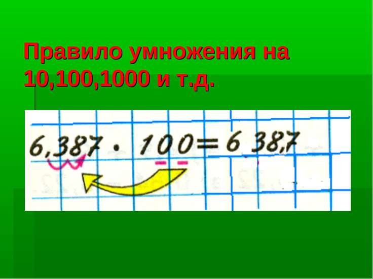 Правило умножения на 10,100,1000 и т.д.