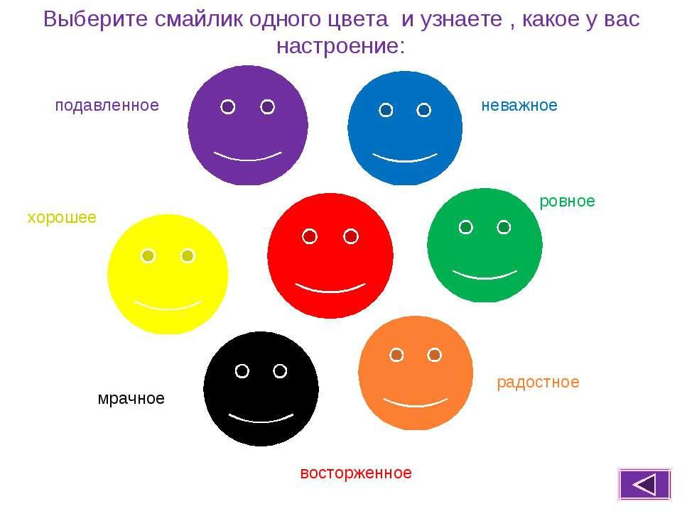Выберите смайлик одного цвета и узнаете , какое у вас настроение: подавленное...