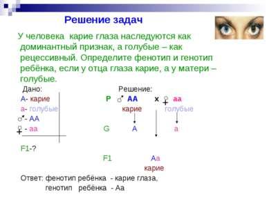 Решение задач Дано: Решение: А- карие Р АА х аа а- голубые карие голубые - АА...