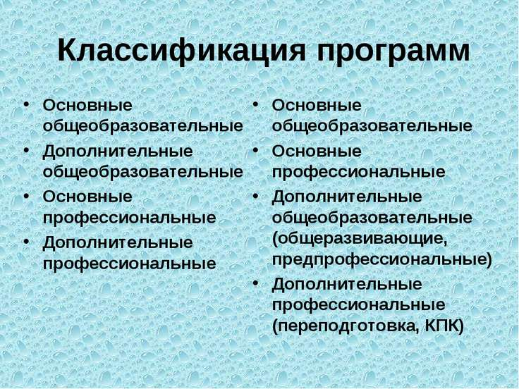 Классификация программ Основные общеобразовательные Дополнительные общеобразо...