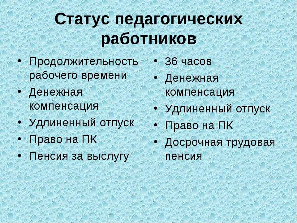 Статус педагогических работников Продолжительность рабочего времени Денежная ...