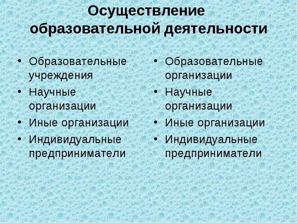 Осуществление образовательной деятельности Образовательные учреждения Научные...