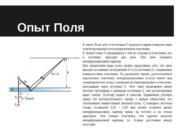 Опыт Поля В опыте Поля свет от источника S отражается двумя поверхностями тон...