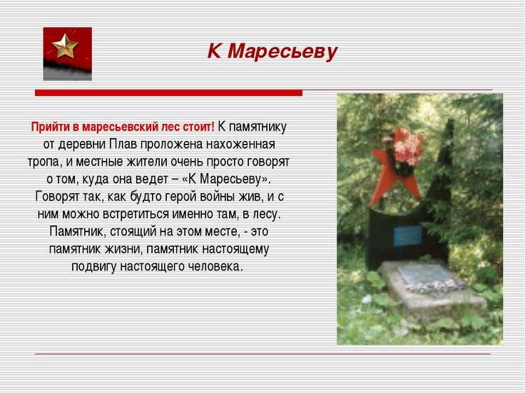 Прийти в маресьевский лес стоит! К памятнику от деревни Плав проложена нахоже...