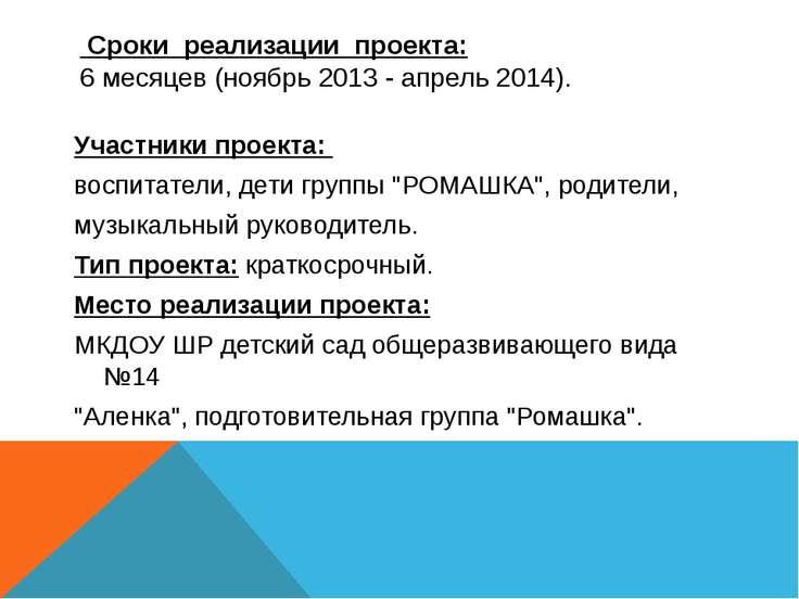 Сроки реализации проекта: 6 месяцев (ноябрь 2013 - апрель 2014). Участники пр...