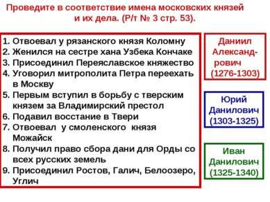 Отвоевал у рязанского князя Коломну Женился на сестре хана Узбека Кончаке При...
