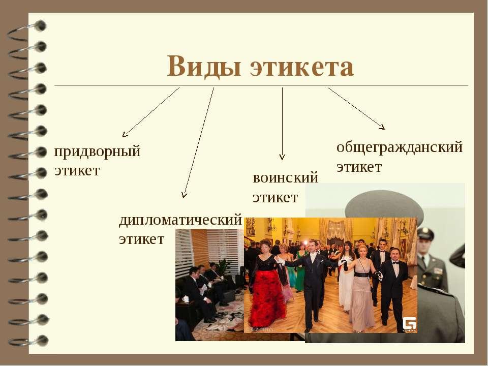 Виды этикета придворный этикет дипломатический этикет воинский этикет общегра...