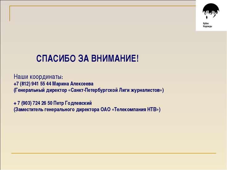 СПАСИБО ЗА ВНИМАНИЕ! Наши координаты: +7 (812) 941 55 44 Марина Алексеева (Ге...