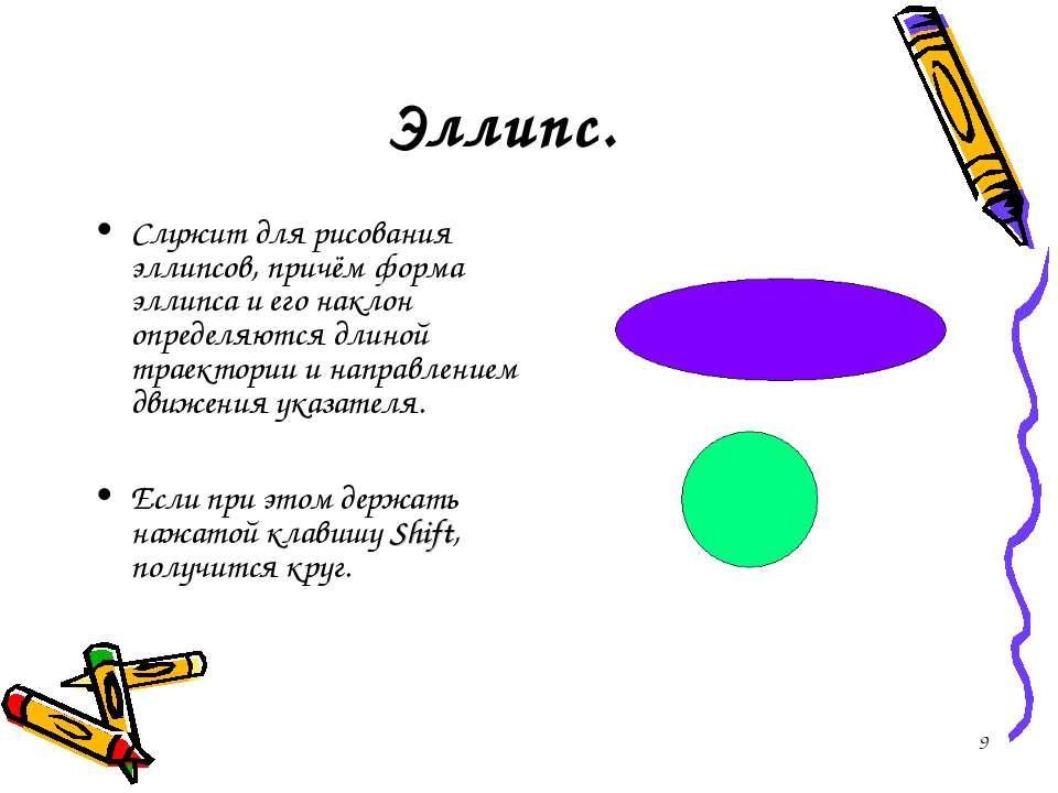 * Эллипс. Служит для рисования эллипсов, причём форма эллипса и его наклон оп...