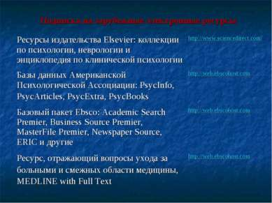 Подписка на зарубежные электронные ресурсы Ресурсы издательства Elsevier: кол...