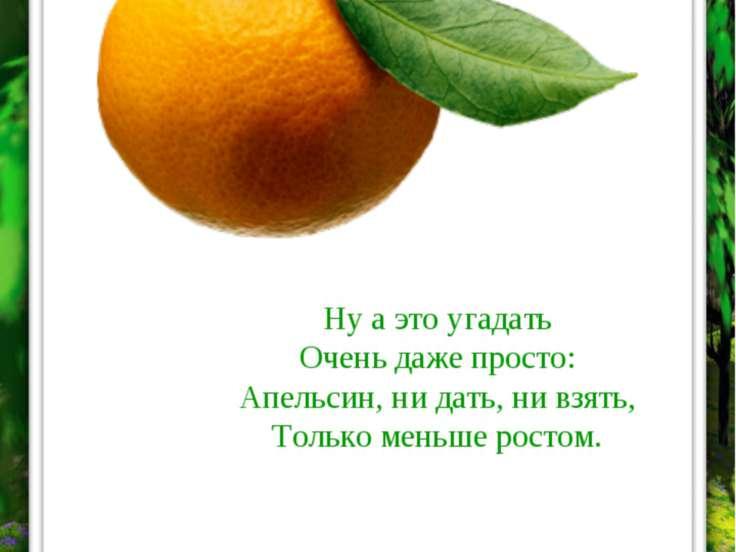 МАНДАРИН Ну а это угадать Очень даже просто: Апельсин, ни дать, ни взять, Тол...