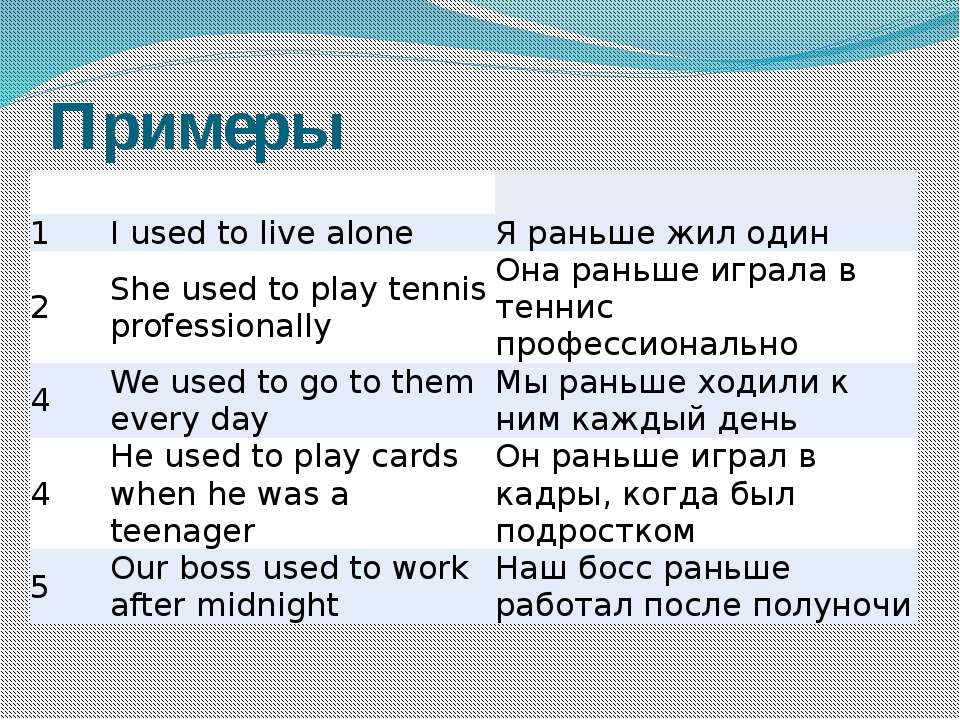 Примеры 1 I used to live alone Я раньше жил один 2 She used to play tennis pr...