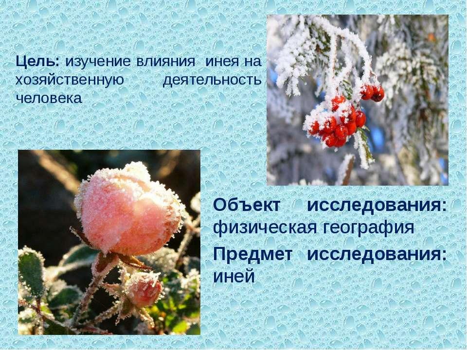 Цель: изучение влияния инея на хозяйственную деятельность человека Объект исс...