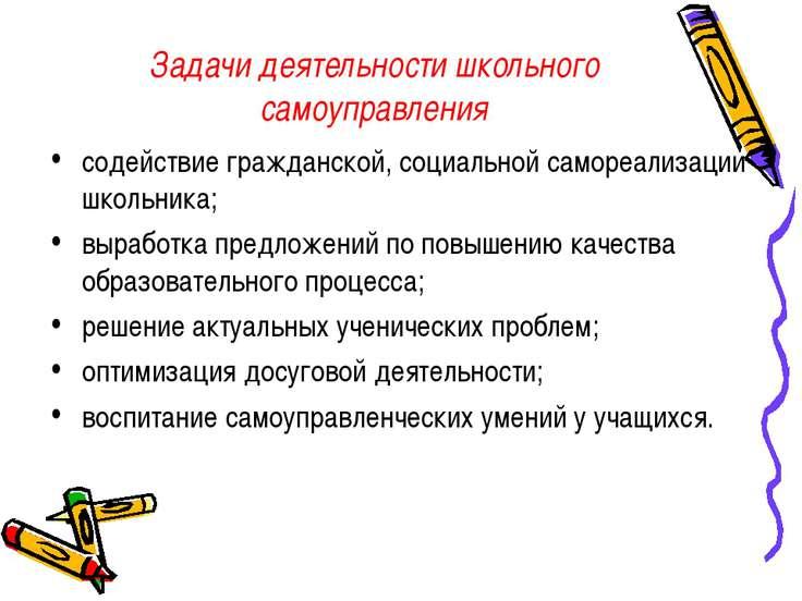 Задачи деятельности школьного самоуправления содействие гражданской, социальн...