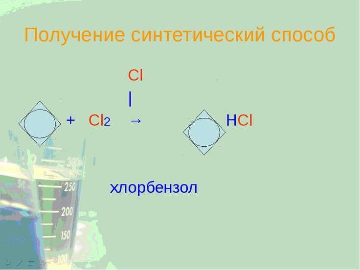 Получение синтетический способ Cl | + Cl2 → + HCl хлорбензол