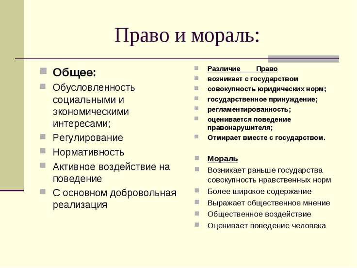Право и мораль: Общее: Обусловленность социальными и экономическими интересам...