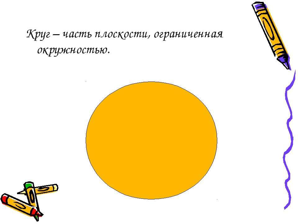 Круг – часть плоскости, ограниченная окружностью.