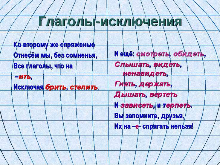 Глаголы-исключения Ко второму же спряженью Отнесём мы, без сомненья, Все глаг...