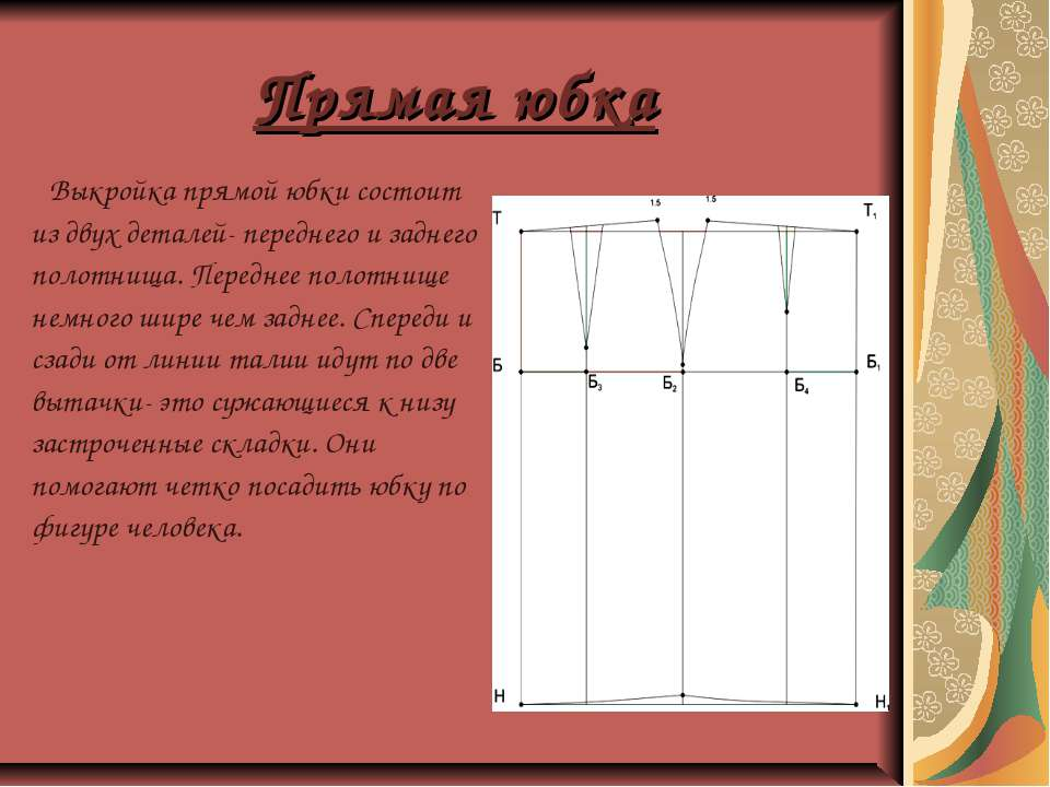 Прямая юбка Выкройка прямой юбки состоит из двух деталей- переднего и заднего...